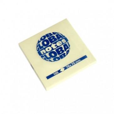 Notes autoadeziv, 75 x 75mm, 100 file/set, galben pastel, GLOBAL NOTES