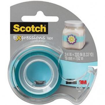Banda adeziva decorativa, bleu, dispenser, SCOTCH