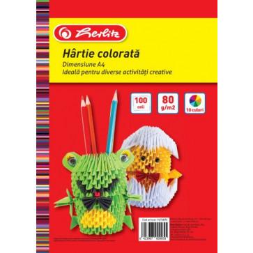 Hartie colorata, A4, 80 g/mp, diverse culori, 100 coli/top, HERLITZ