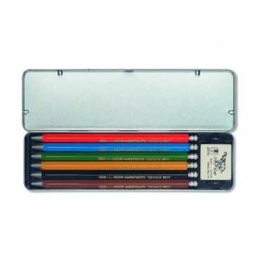Set 6 creioane mecanice metalice + radiera, 2mm, KOH-I-NOOR Versatil