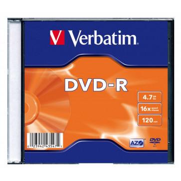 DVD-R, 4.7GB, 16X, carcasa slim, VERBATIM Matt Silver