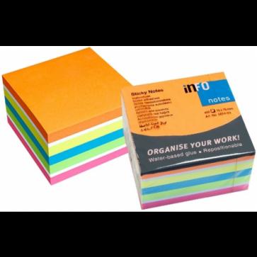 Notes autoadeziv cub, 75 x 75mm, 450 file/set, diferite culori intense, INFO NOTES Mix