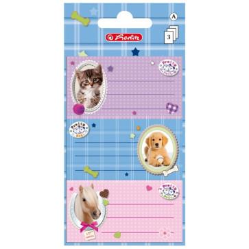 Etichete scolare, 3 x 3 coli/set, Herlitz Pretty Pets Pisica/Câine/Cal
