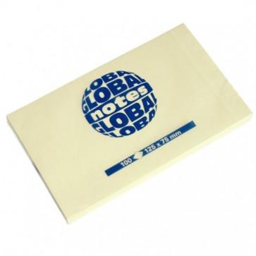 Notes autoadeziv, 125 x 75mm, 100 file/set, galben pastel, GLOBAL NOTES
