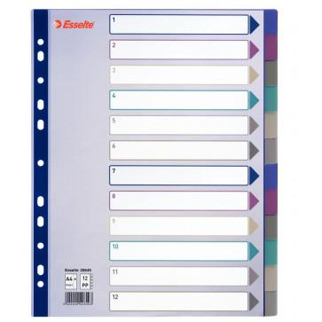Separator din plastic (PP), A4,index 1-12, ESSELTE Maxi