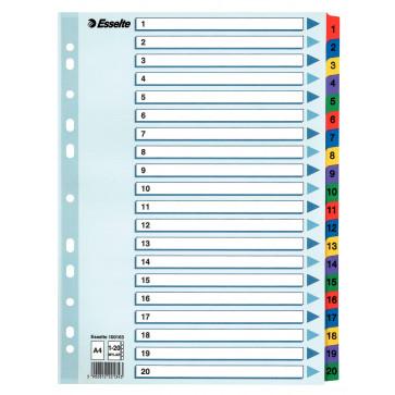 Separatoare din plastic, index 1-20, A4, ESSELTE Mylar