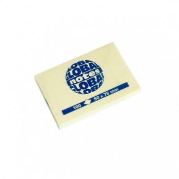 Notes autoadeziv, 75 x 50mm, 100 file/set, galben pastel, GLOBAL NOTES