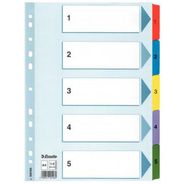 Separatoare din plastic, index 1-5, A4, ESSELTE Mylar