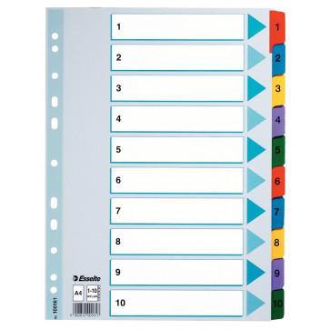 Separatoare din carton cu index 1-10, A4, ESSELTE
