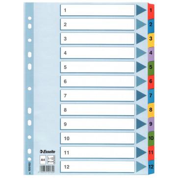 Separatoare din plastic, index 1-12, A4, ESSELTE Mylar