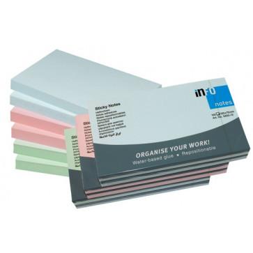 Notesuri autoadezive (6 seturi), 125 x 75mm, 100 file/set, diferite culori pastel, INFO NOTES