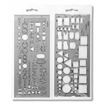 Sablon din plastic, electronist, 2 buc/set,, 120 x 210mm, fumuriu, KOH-I-NOOR