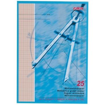 Hartie milimetrica, A4, 80 g/mp, 25 file, HERLITZ