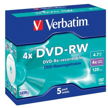 DVD-RW, 4.7GB, 4X, carcasa jewel, 5 pack, VERBATIM Matt Silver
