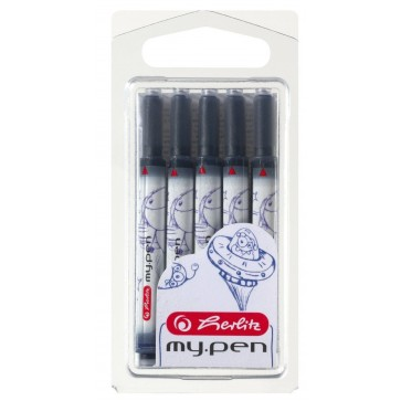 Cartuse cu cerneala, albastru, universale, 5 bucati/blister, HERLITZ my.pen