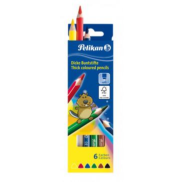 Creioane colorate, triunghiulare, groase, 6 culor/set, PELIKAN