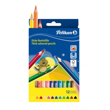 Creioane colorate, triunghiulare, groase, 12 culori/set, PELIKAN