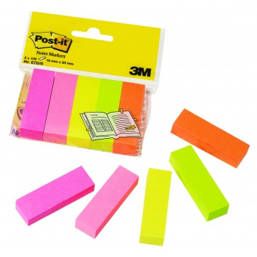 Index autoadeziv, 15 x 50mm, 100 file/culoare, 5 culori/set, POST-IT 670/5