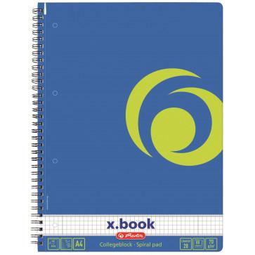 Caiet A4 matematica, cu spira, perforat, 80 file, HERLITZ Albastru Intens