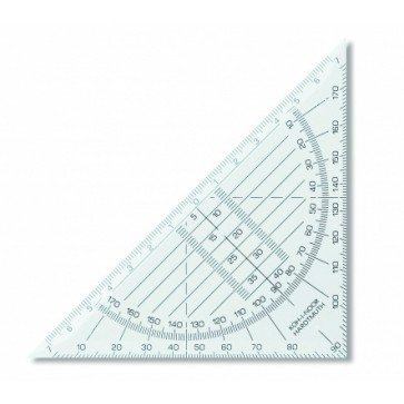 Echer din plastic, cu raportor, 45º / 113 mm, KOH-I-NOOR