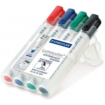 Marker pentru tabla (whiteboard), 2.0mm, 4 culori/set, STAEDTLER Lumocolor 351