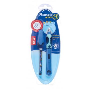 Stilou scolar, pentru stangaci, albastru, 1 rezerva/blister, PELIKAN Griffix
