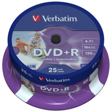 DVD+R, 4.7GB, 16X, 25 buc/bulk, printabil, VERBATIM Wide Photo Printable - ID Branded