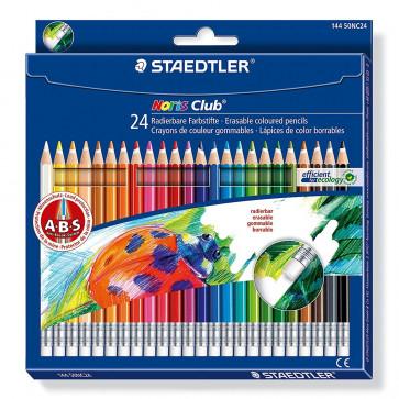 Creioane colorate, cu radiera, 24 buc/set, STAEDTLER Noris Club