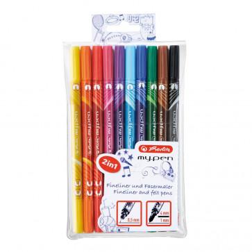 Carioci + finelinere, 10 culori/set, HERLITZ My.Pen