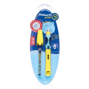 Stilou scolar, pentru dreptaci, galben, 1 rezerva/blister, PELIKAN Griffix