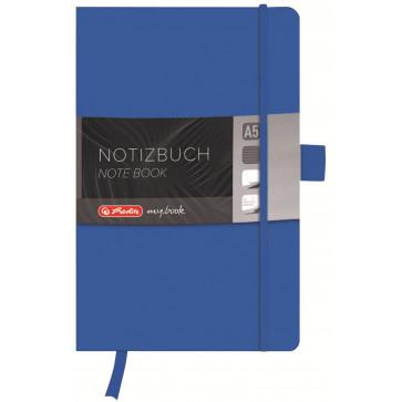 Bloc notes A5, dictando, coperta din piele sintetica cu elastic, 96 file, albastru, HERLITZ My Book Classic