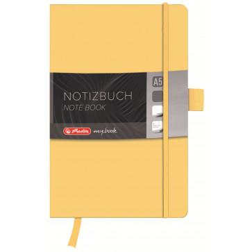 Bloc notes A5 dictando, coperta din piele sintetica cu elastic, 96 file, galben, HERLITZ My Book Classic