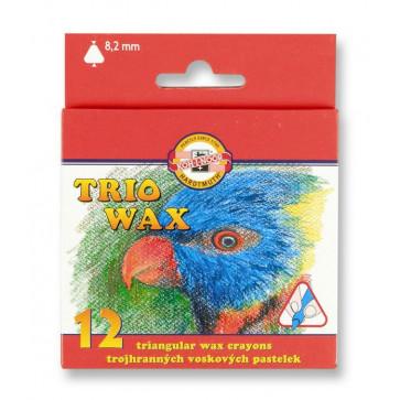 Creioane colorate triunghiulare, cerate, 12 culori/set, KOH-I-NOOR
