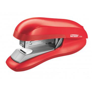 Capsator plastic de birou, pentru maxim 30 coli (capsare plata), capse 24/6, rosu deschis, RAPID F30