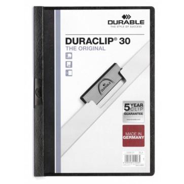 Dosar din plastic, cu clip, maxim 30 de coli, negru, DURABLE Duraclip