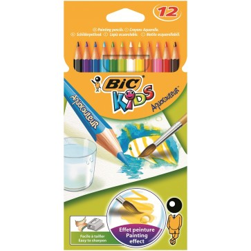 Creioane colorate - aquarell, 12 culori/set, BIC Aquacouleur