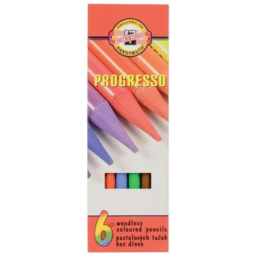 Creioane colorate, cerate, 6 culori/set, KOH-I-NOOR Progresso