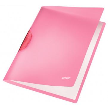 Dosar din plastic, cu clip, rosu, LEITZ Color Clip Rainbow