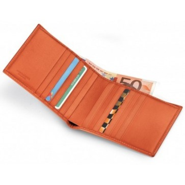 Portofel, portocaliu, din piele de bovina, FEDON Classica P-Foglio-U3