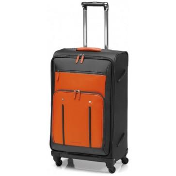 Troller, portocaliu/gri, din piele de bovina si nylon, FEDON Travel Web Trolley-L