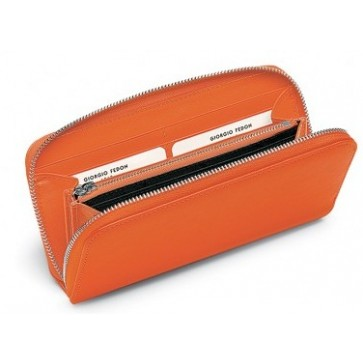 Portofel dama, portocaliu, din piele de bovina, FEDON Classica P-F-Zip