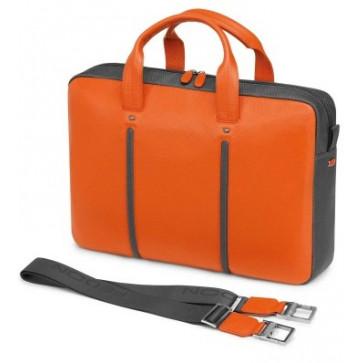 Geanta, portocaliu, din piele de bovina si nylon, FEDON Web File-1