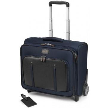 Troller, albastru/maro, din piele de bovina si nylon, FEDON Travel Web BS-Trolley