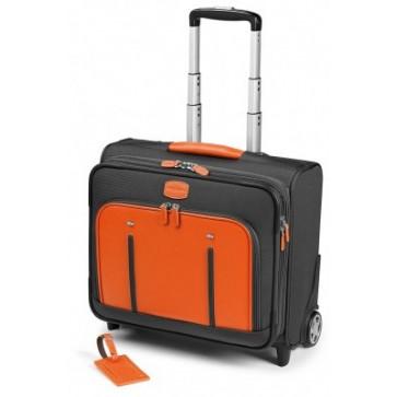 Troller, gri/portocaliu, din piele de bovina si nylon, FEDON Travel Web BS-Trolley