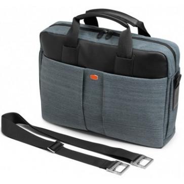 Geanta pentru laptop, negru/gri, din piele de bovina si tesaturi, FEDON Jazz File-1