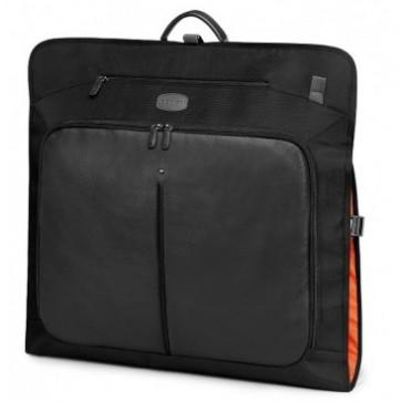Husa pentru haine, negru/gri, din piele de bovina si nylon, FEDON Travel Web-Garment