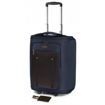 Troller, albastru/maro, din piele de bovina si nylon, FEDON Travel Web Marco Polo