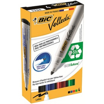 Marker pentru tabla (whiteboard), 2.5mm, 4 culori/set, BIC Eco Velleda 1701