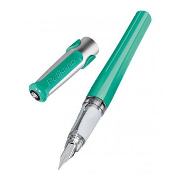 Stilou cu grip, pentru dreptaci, penita F, verde, PELIKAN Pelikano