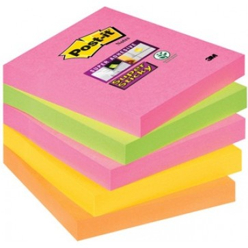 Notes autoadeziv, 76 x 76mm, 5 x 90 file/pachet, neon asortate, POST-IT Super Sticky 654S-N